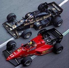 Michele Alboreto (Ferrari 126C4) and Nigel Mansell  (Lotus-Renault 95T)