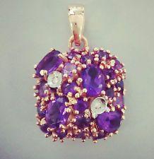 PENDENTE ORO rosa 18KT,pietre naturali AMETISTA,diamanti ct 0,02,viola,colore