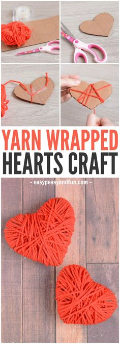 A cute and colorful easy yarn heart craft! A perfect fine motor skill for you preschooler to work on this Valentine's Day! A cute and colorful easy yarn heart craft! A perfect fine motor skill for you preschooler to work on this Valentine's Day! Valentines Bricolage, Kinder Valentines, Valentines Day Party, Valentine Day Crafts, Holiday Crafts, Ideas For Valentines Day, Valentine Hearts, Printable Valentine, Homemade Valentines