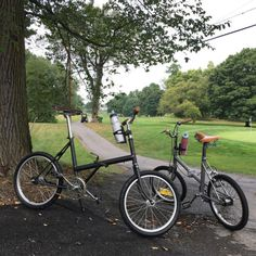 Exercise bikes  #Raleightwenty 2-speed + #Rapido 3-speed #foldingbike #foldingsociety #minivelo #sramautomatix #sram #origin8leathersaddle (at Hagerstown, Maryland)