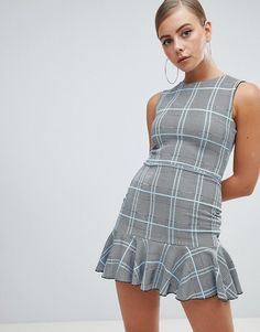 659eb6bae95ab Missguided peplum hem mini dress in check