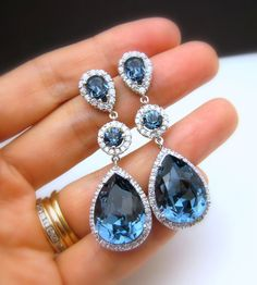 wedding jewelry bridal jewelry wedding earrings bridal earrings Clear white teardrop AAA cubic zirconia and blue navy crystal on cz post