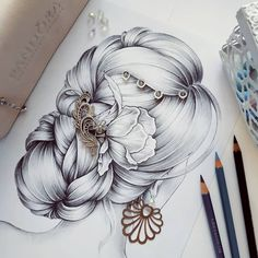 """One of my new """"hair inspirations"""" with decorations ❤️ Girly Drawings, Cool Art Drawings, Art Drawings Sketches, Pencil Sketch Drawing, Pencil Art Drawings, Kristina Webb Art, 7th Grade Art, Hair Sketch, Object Drawing"""