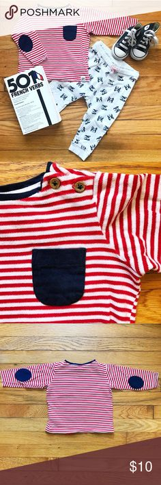 🇫🇷 Oui, Baby! Striped Tee This textured cotton tee with red & white stripes is the perfect little dose of Paris for your wee bebé!  • Navy chest pocket, wooden buttons at shoulders, and navy corduroy elbow patches. • Excellent gently used condition. • Bundle 3 or more items and receive 20% off! H&M Shirts & Tops Tees - Long Sleeve