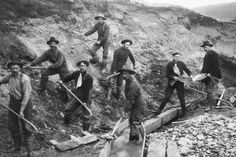 Photographic Print: Miners Pan and Dig for Gold in Alaska : 24x16in