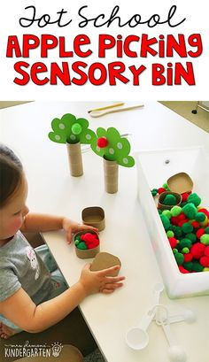 School: Apples We LOVE this picking apples sensory bin. Great for tot school, preschool, or even kindergarten!We LOVE this picking apples sensory bin. Great for tot school, preschool, or even kindergarten! Preschool Apple Theme, Fall Preschool, Preschool Lessons, Preschool Classroom, Preschool Learning, Toddler Preschool, In Kindergarten, Preschool Activities, Preschool Apples