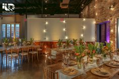 Palm Door on Sixth. Festoon lighting. Uplighting. Pinspotting. Lighting by Intelligent Lighting Design. Rentals by Loot Vintage & Premiere Select. Florals by Bird Dog Wedding. Photos by Jerry Hayes Photography.