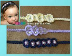 Crochet TieBack Hair / Head Bands - 100 percent cotton! So adorable.