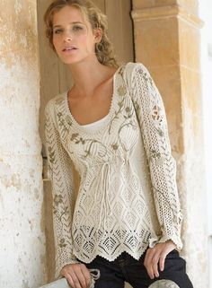 Embroidery over top of crochet top. Some women are so creative. ~!~