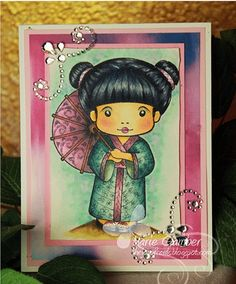 Copic card using the La-La Land Crafts - Kimono Marci stamp.  Made by Marie