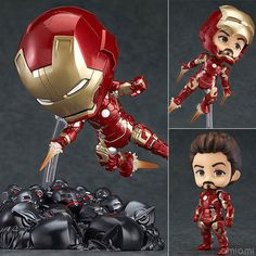 Iron Man Action Figures Ironman Mark 43 Ultron Nendoroid 100mm PVC Collectible Model Toys Superhero Ironman #Affiliate