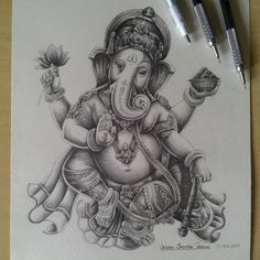 Jedson S Pireira Ganesha Tattoo Lotus, Shiva Tattoo, Lotus Tattoo, Tattoo Ink, Ganesha Drawing, Ganesha Painting, Elefante Tattoo, Dancing Ganesha, Hindu Tattoos