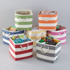 Striped totes in every color of the rainbow, perfect for playrooms, nurseries, and home office. Organize toys, dolls, etc.
