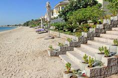 Multi Staircases lead to the lagoon beaches at Palm Jumeirah, Dubai Retaining Blocks, Palm Jumeirah, Outdoor Stuff, Staircases, 4x4, Beaches, Terrace, Dubai, Stairs