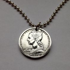 1948 Cameroon 1 Franc coin pendant necklace jewelry Lady Liberty Marianne Gazelle African animal French Republic union colony No.001161 by acnyCOINJEWELRY on Etsy