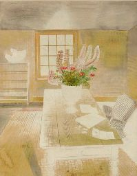 Garden flowers on cottage table ~ Eric Ravilious