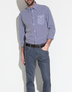 CONTRASTING CHECKED SHIRT - Fashion - Shirts - Man - ZARA