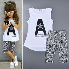 9a261dfa2 Girls set summer new fashion 2015 Sleeveless kids clothing white T shirts + pant  Leopard printing
