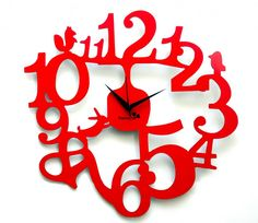 Stylish Panache Number Theme Red Wall Clocks With Amazing Animal Shaped Carving Clock Accessories Decoration And Black Scheme Hour Hand Types Unique Style Of Red Wall Clocks Furniture