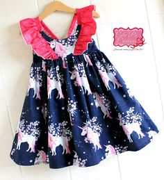 Navy Unicorn Flutter Dress Unicorn Party girls dress