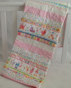 Baby Girl Quilt with Baby Storks and Baby by KimsQuiltingStudio, $139.99