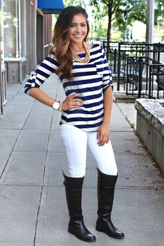 Southern Prep Top - Navy from UOI Boutique