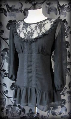 Romantic Victoriana Black Lace Bib Ruffle Tunic Top 12 Vintage Gothic Victorian | Gorgeous Goth Black Sheer Net Floral Ruffle Blouse 10 Victorian Vamp | THE WILTED ROSE GARDEN on eBay // Worldwide Shipping Available