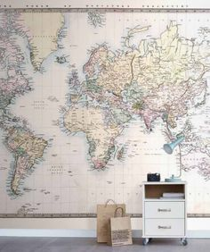 Muriva map wallpaper departments diy at bq map artsy eurowalls world map wallpaper mural gumiabroncs Image collections