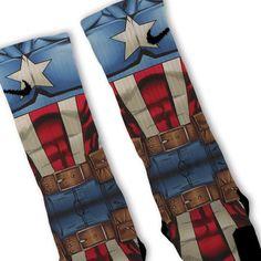 Captain America Avengers Customized Nike Elite by FreshElites Crazy Socks, Cool Socks, Awesome Socks, Nike Elite Socks, Nike Socks, Basketball Socks, Basketball Stuff, Team Cap, Athletic Outfits