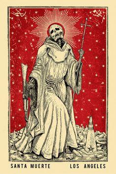 La Santa Muerte Limited Edition Screen Print by Ravi Zupa Obey Artist Art Mort, Grand Art, Death Art, Satanic Art, Arte Obscura, Occult Art, Gothic Art, Memento Mori, Horror Art