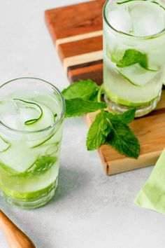 NYT Cooking: An evolution of soda water with bitters, think of this as a spin on the gin and tonic. Vegetal cucumber and herby mint replace the botanicals in the gin. If tonic water is too bitter for you, swap in soda water instead. And, if you're eschewing alcohol in all its forms, skip the bitters. (They do contain alcohol, though it's diluted here.)
