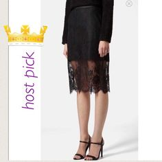 """Topshop lace overlay pencil skirt 6 Excellent pre-loved condition! 100% nylon. Approx 13"""" waist, approx 15.5"""" hips, 25"""" in length. Mannequin is approx 5'7"""" for reference. FREE SHIPPING! Just offer $6 less than asking price! Please note, offers more than might be countered! ✅ offers ❌ trades  bundles save 20% off 2+ Topshop Skirts"""