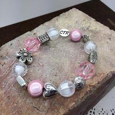 CTR  Bracelet Choose the Right Bracelet  girl's beaded PINK bracelet - Baptismal Bracelet handmade with a CTR bead- carded for gift giving