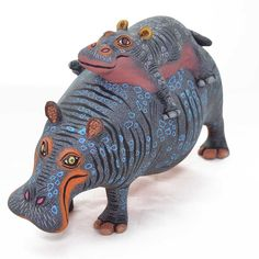 Eleazar Morales: Hippo and Baby Mexican Home Decor, Mexican Folk Art, American Indian Art, Native American Indians, Rhino Art, Colorful Animals, Wood Carvings, Dinosaur Stuffed Animal, Lion Sculpture