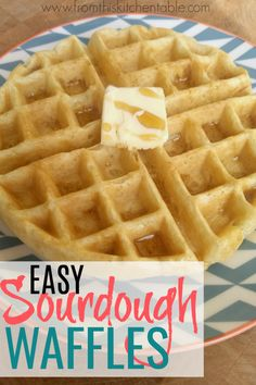 These easy sourdough waffles are so good! Such an easy sourdough recipe and crispy on the outside and tender on the inside. Make a big batch of these and freeze the leftovers! Sourdough Waffle Recipe, Sourdough Recipes, Sourdough Bread, Bread Recipes, Sourdough Pancakes, Freezer Cooking, Freezer Meals, Cooking Recipes, Crockpot Recipes
