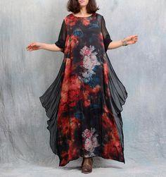 Women loose printed chiffon dress