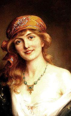 Beautiful Portrait Painting by : Albert Lynch 1851 - 1912