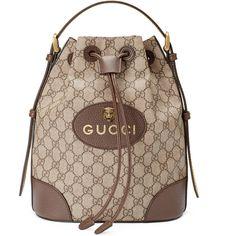 Gucci Gg Supreme Backpack ($1,445) ❤ liked on Polyvore featuring bags, backpacks, handbags, shoulder bags, women, brown leather rucksack, backpack shoulder bag, leather drawstring backpack, shoulder bag and brown leather backpack