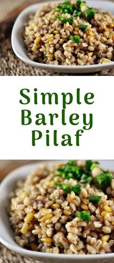 Simple Barley Pilaf High-protein, high-fiber barley makes a delicious simple baked barley pilaf that is flavorful, tender and pairs wonderfully with many dishes. Barley Side Dish Recipe, Side Dish Recipes, Dinner Recipes, Barley Pilaf Recipe, Side Dishes, Beef Recipes, Vegetarian Recipes, Cooking Recipes, Healthy Recipes