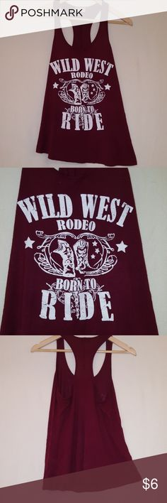 🌷Adorable🌷Loose🌷Tank🌷Cowgirl🌷 Slightly twisted! Imperfect,  no-one would notice.   Burgundy free kisses Tops Tank Tops