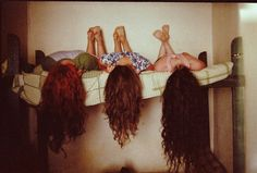 bed, curly, curly hair, girls , hair want to take a pic like this when my hair gets that long with my friends