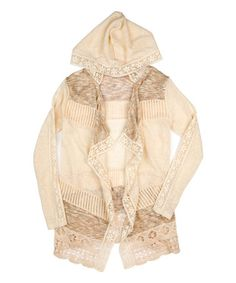 Look what I found on #zulily! Cream Lace Hooded Open Cardigan #zulilyfinds