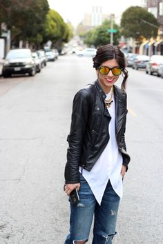 2013 Jacket: Zara; Shirt: Equipment; Jeans: Current/Elliot; Necklace: Yochi