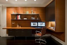 Modern study room with corner desk and table.. I like this one..