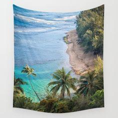 Beach Palm Trees Kauai Wall Tapestry