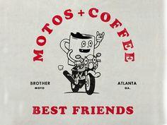 Motos & Coffee designed by Elliott Snyder. Connect with them on Dribbble; Retro Illustration, Character Illustration, House Illustration, Graphic Design Posters, Graphic Design Inspiration, Design Art, Logo Design, Vintage Cartoon, Vintage Graphic