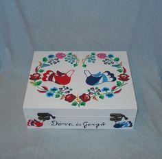 Kalocsa floral and birds decorated wedding box.