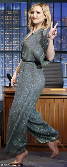 All that glitters: The actress rocked a glittery green jumpsuit and nude Louboutin stilettos on the chat show