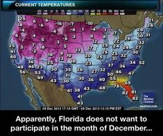 (I live down here in South Florida and can never understand why people seem envious of our sweaty, wet heat.)