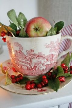 Love the cow cup filled with Christmas joy! Pull out the transferware from your cupboard or go antiquing and fill a cup. Noel Christmas, Country Christmas, All Things Christmas, Vintage Christmas, Christmas Crafts, Christmas Decorations, Apple Decorations, English Christmas, Christmas Greenery